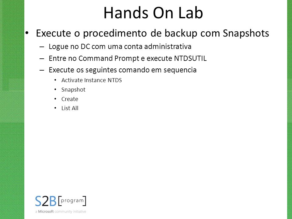 Hands On Lab Execute o procedimento de backup com Snapshots