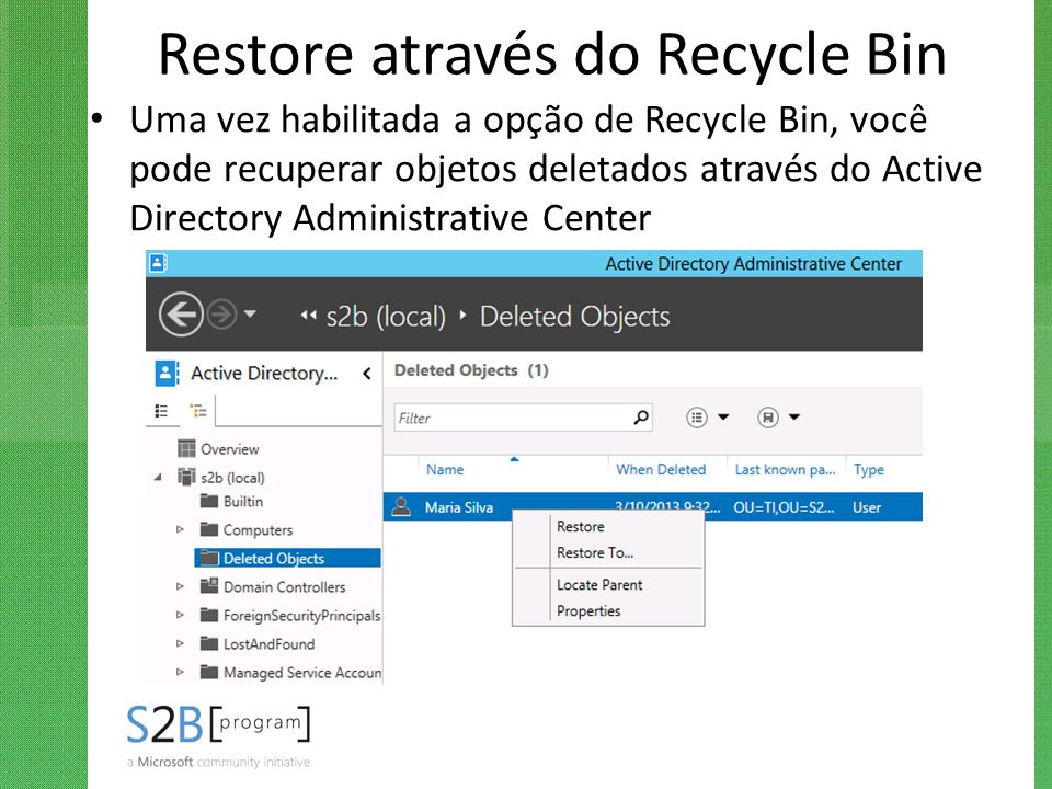 Restore através do Recycle Bin
