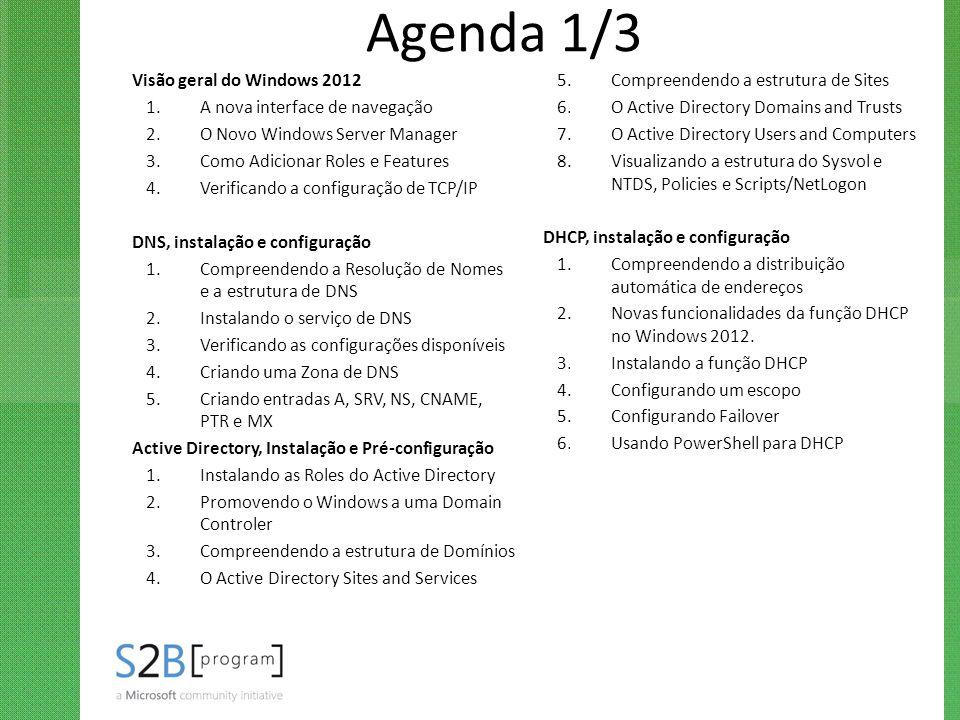 Agenda 1/3 Visão geral do Windows 2012