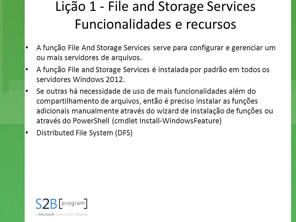 Lição 1 - File and Storage Services Funcionalidades e recursos
