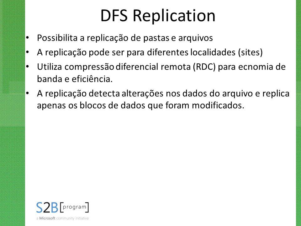 DFS Replication Possibilita a replicação de pastas e arquivos
