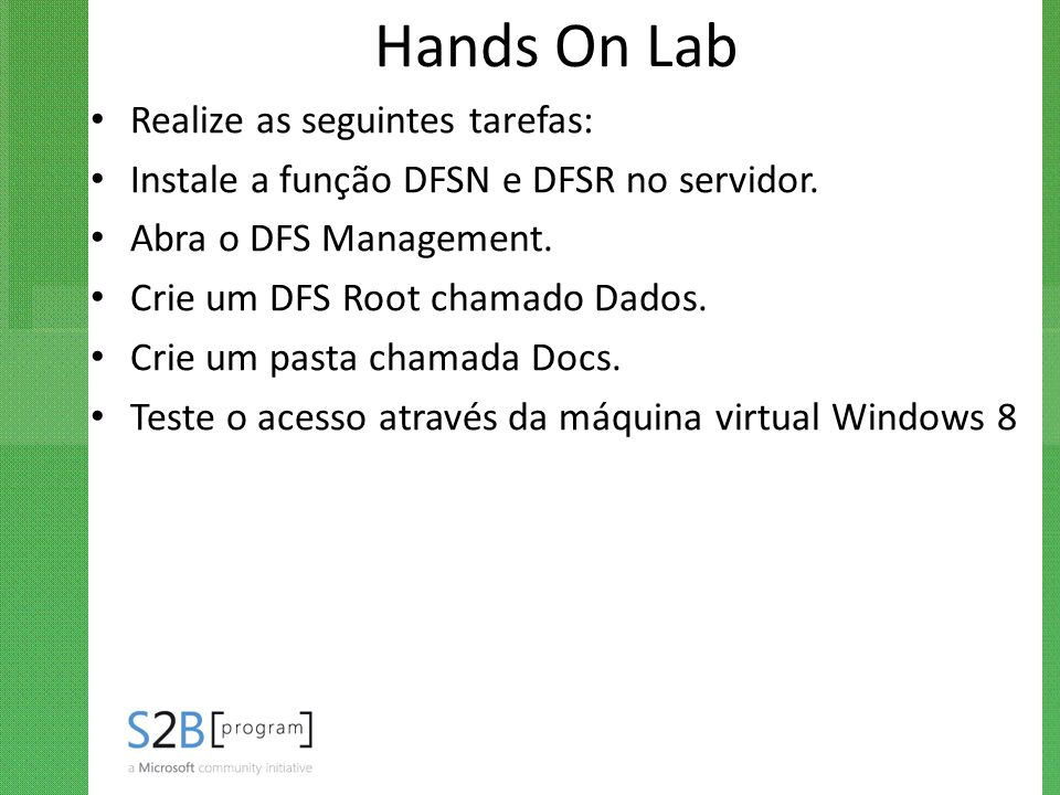 Hands On Lab Realize as seguintes tarefas: