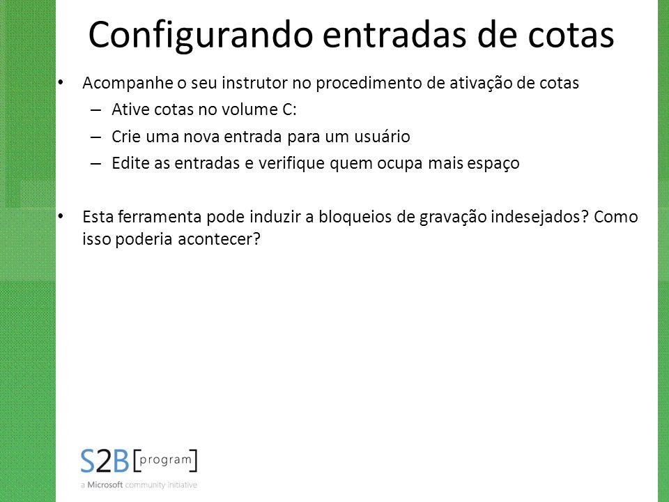 Configurando entradas de cotas