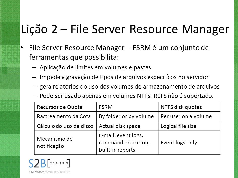 Lição 2 – File Server Resource Manager