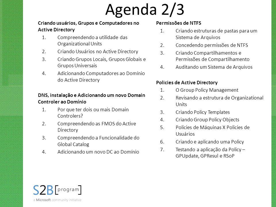 Agenda 2/3 Criando usuários, Grupos e Computadores no Active Directory