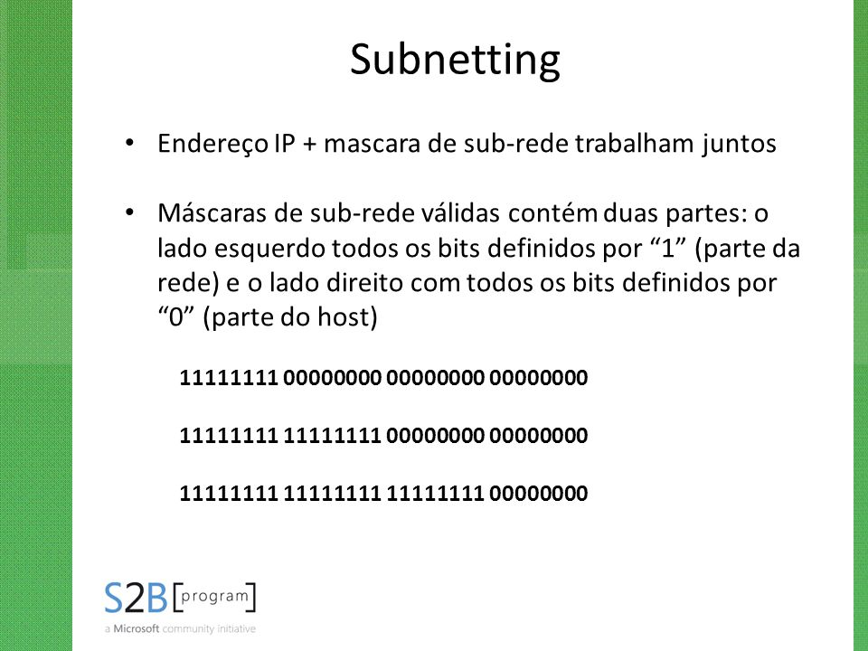 Subnetting Endereço IP + mascara de sub-rede trabalham juntos