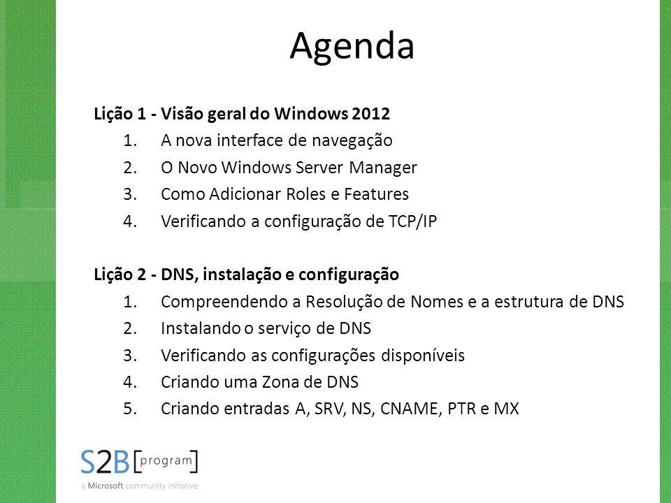 Agenda Lição 1 - Visão geral do Windows 2012