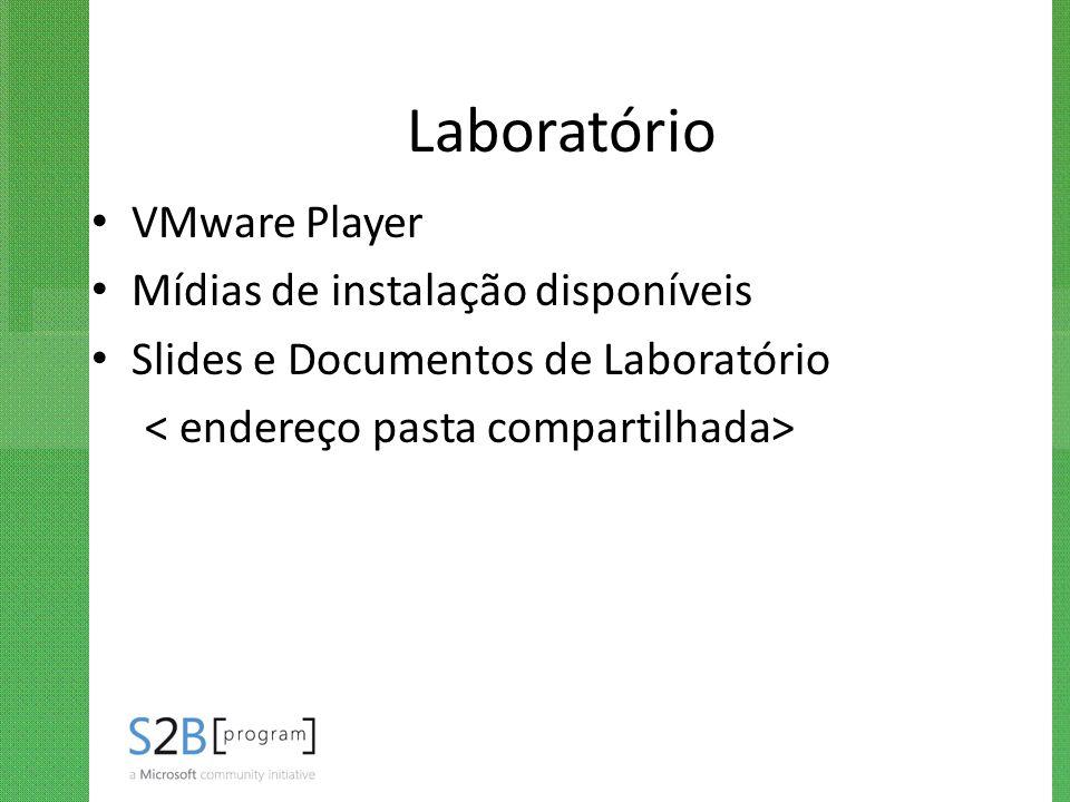 Laboratório VMware Player Mídias de instalação disponíveis