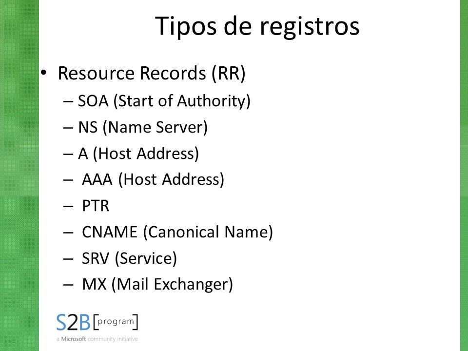 Tipos de registros Resource Records (RR) SOA (Start of Authority)
