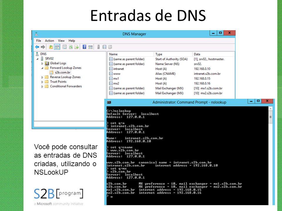 Entradas de DNS Na zona de DNS criada, conduza os alunos na criação de entradas A, CNAME e MX. Comente sobre as entradas SOA e NS.