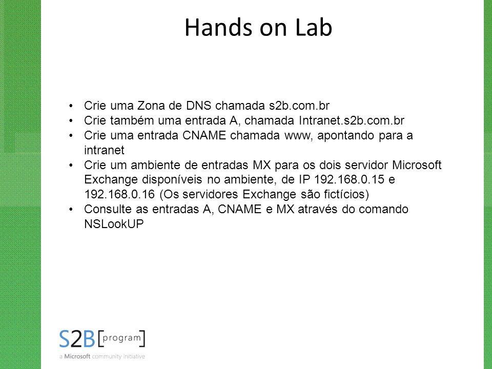Hands on Lab Crie uma Zona de DNS chamada s2b.com.br