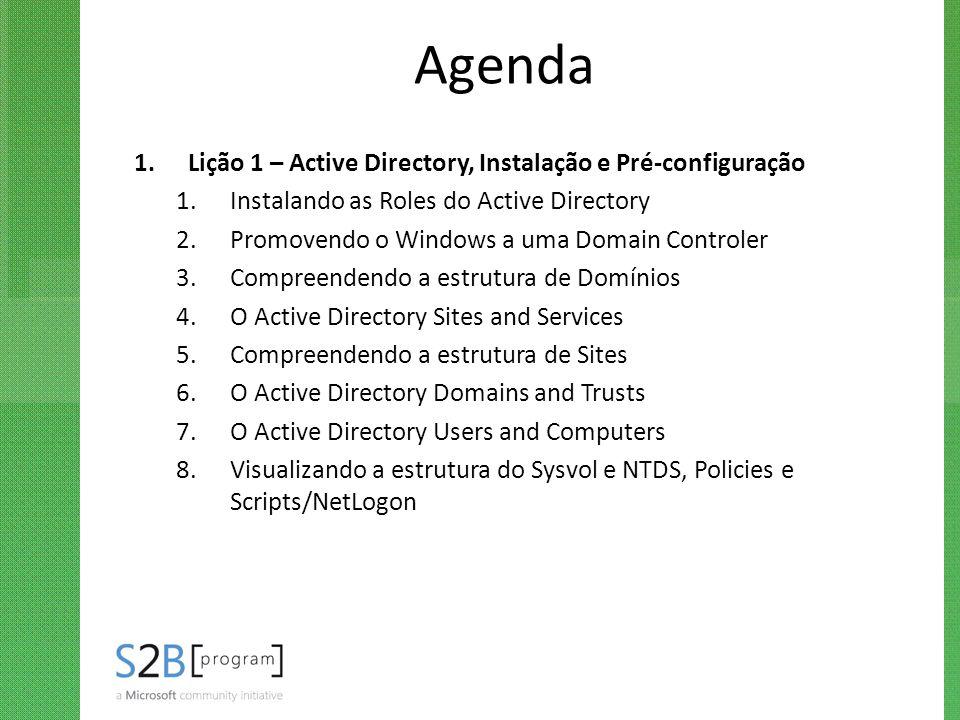 Agenda Lição 1 – Active Directory, Instalação e Pré-configuração