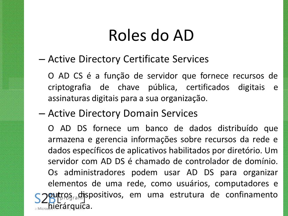 Roles do AD Active Directory Certificate Services