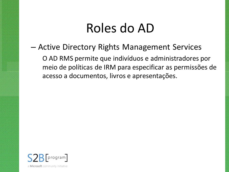Roles do AD Active Directory Rights Management Services