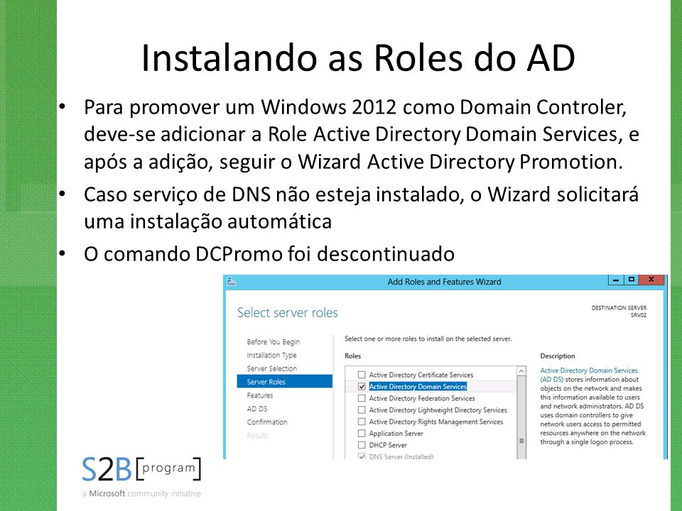 Instalando as Roles do AD