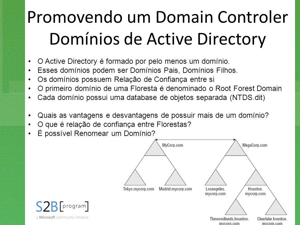 Promovendo um Domain Controler Domínios de Active Directory