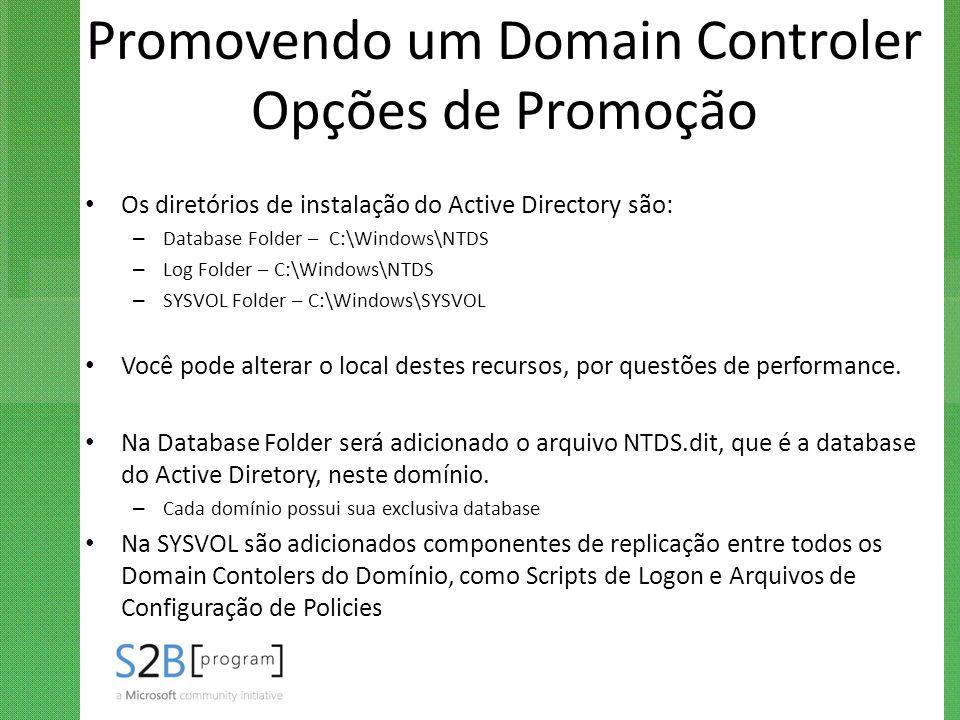 Promovendo um Domain Controler Opções de Promoção