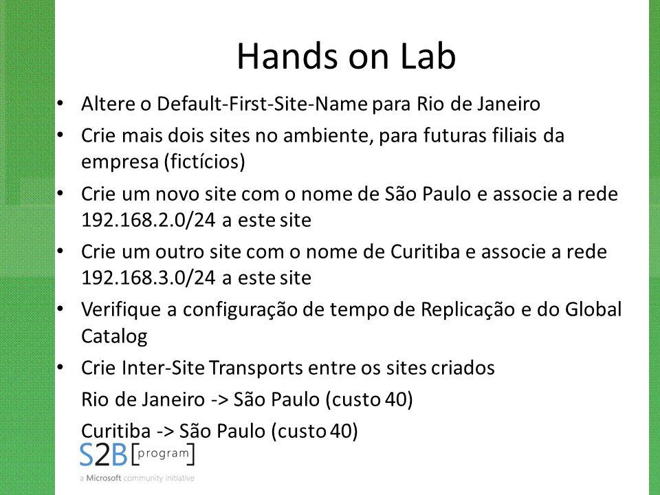 Hands on Lab Altere o Default-First-Site-Name para Rio de Janeiro
