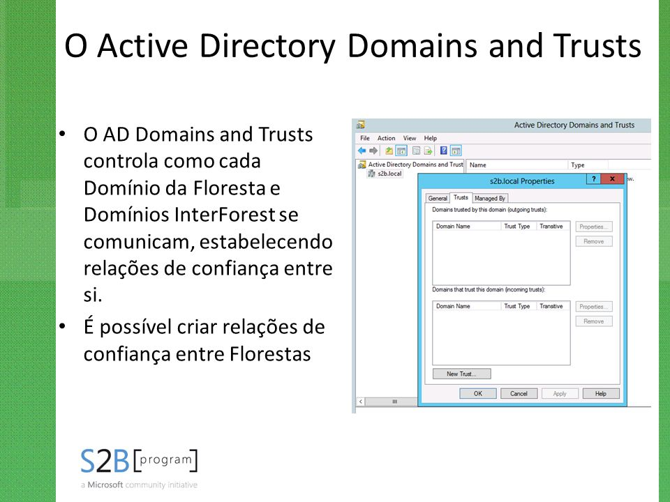 O Active Directory Domains and Trusts