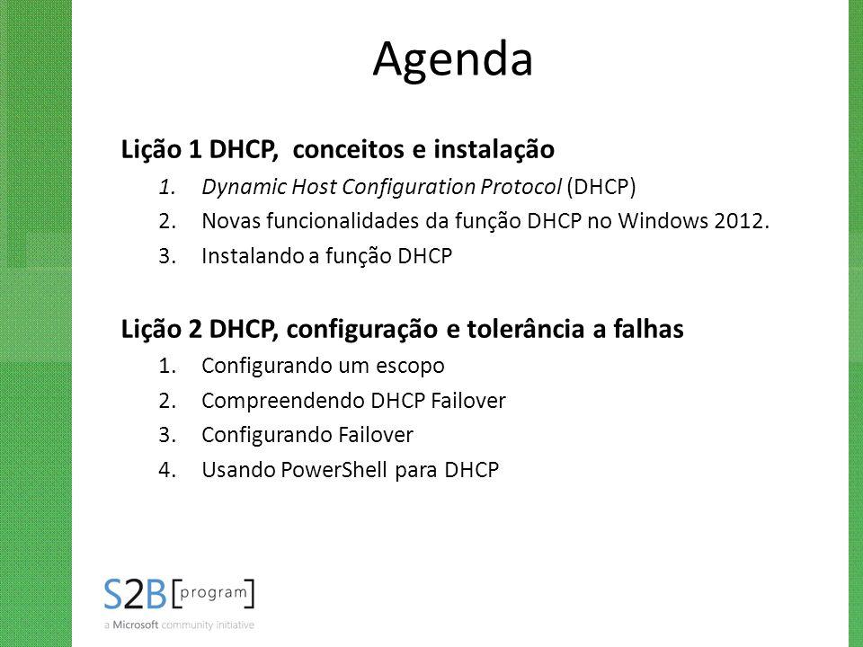 Agenda Lição 1 DHCP, conceitos e instalação