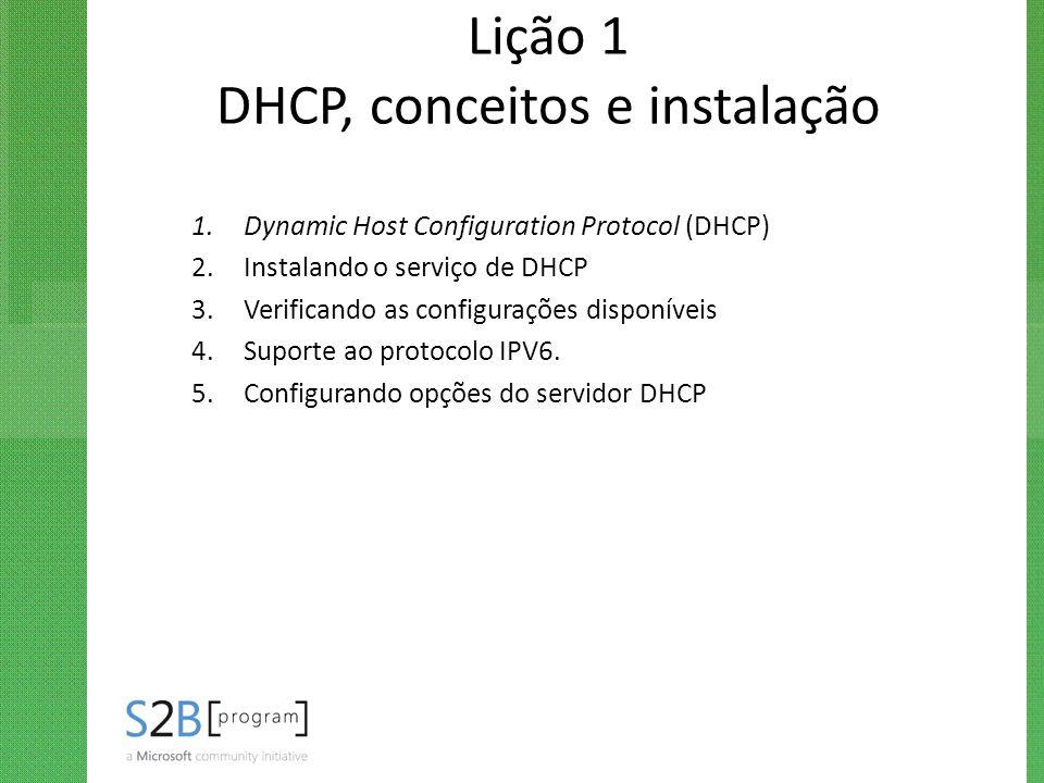 Lição 1 DHCP, conceitos e instalação