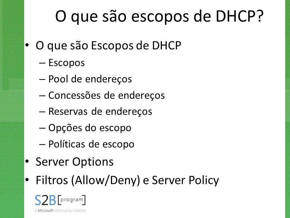 O que são escopos de DHCP