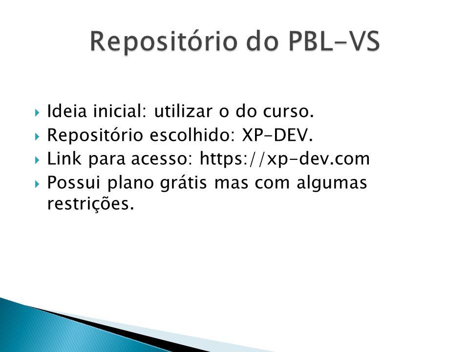 Repositório do PBL-VS Ideia inicial: utilizar o do curso.
