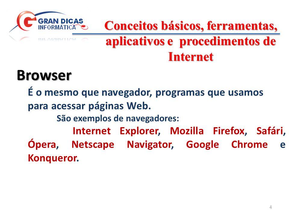 Conceitos básicos, ferramentas, aplicativos e procedimentos de Internet