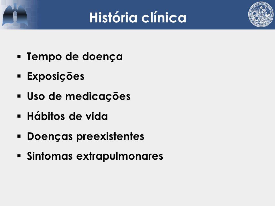 História clínica Tempo de doença Exposições Uso de medicações
