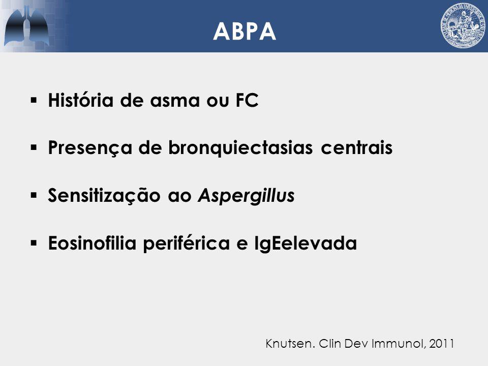 ABPA História de asma ou FC Presença de bronquiectasias centrais