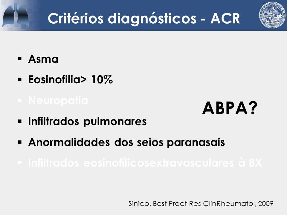 Critérios diagnósticos - ACR