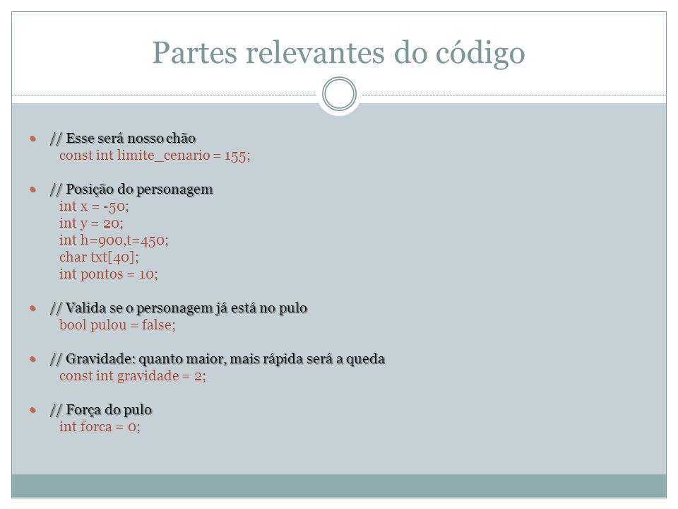 Partes relevantes do código