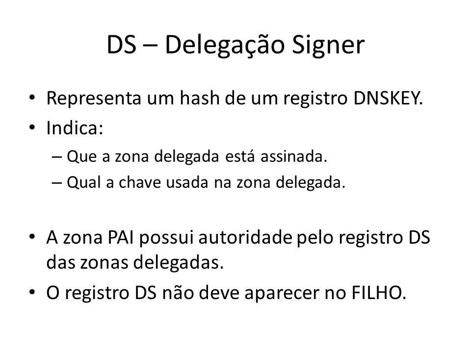 DS – Delegação Signer Representa um hash de um registro DNSKEY.