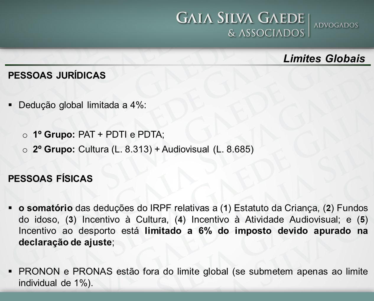 Limites Globais PESSOAS JURÍDICAS Dedução global limitada a 4%: