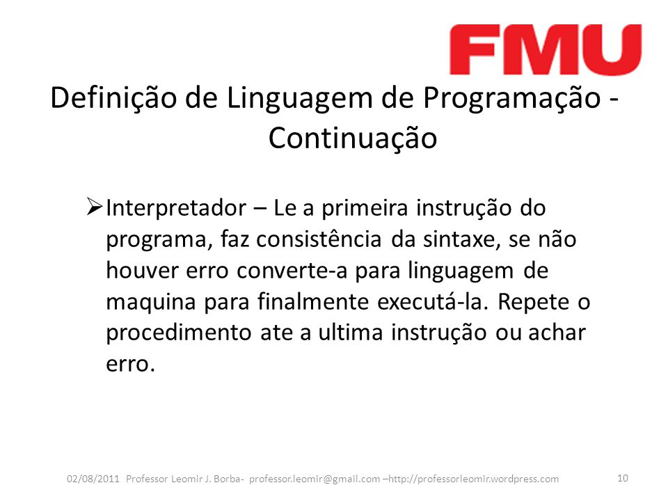 Definição de Linguagem de Programação - Continuação