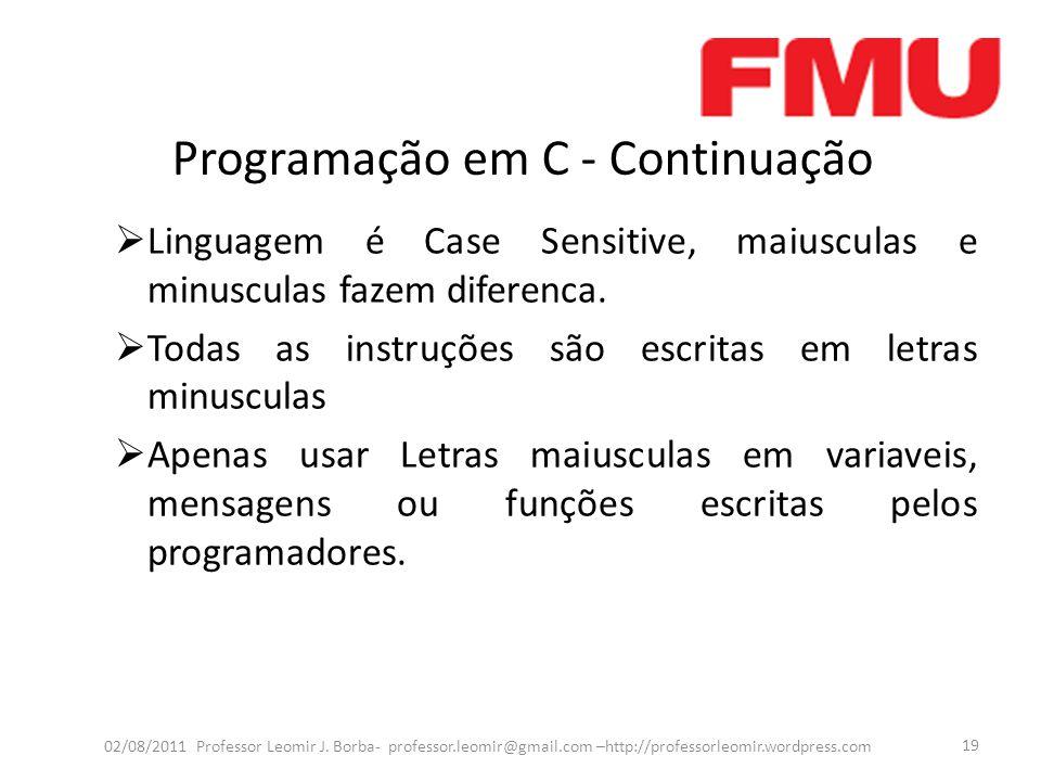 Programação em C - Continuação