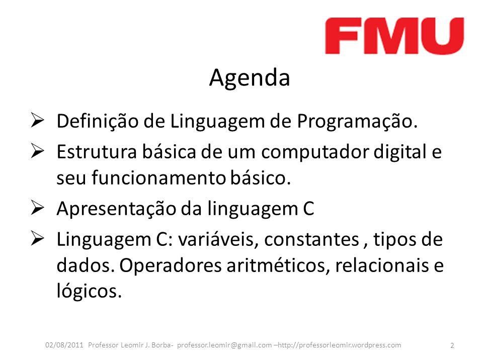 Agenda Definição de Linguagem de Programação.