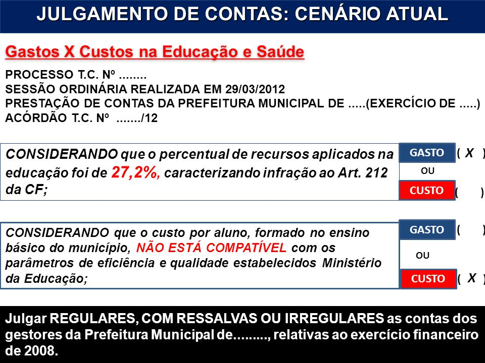 JULGAMENTO DE CONTAS: CENÁRIO ATUAL
