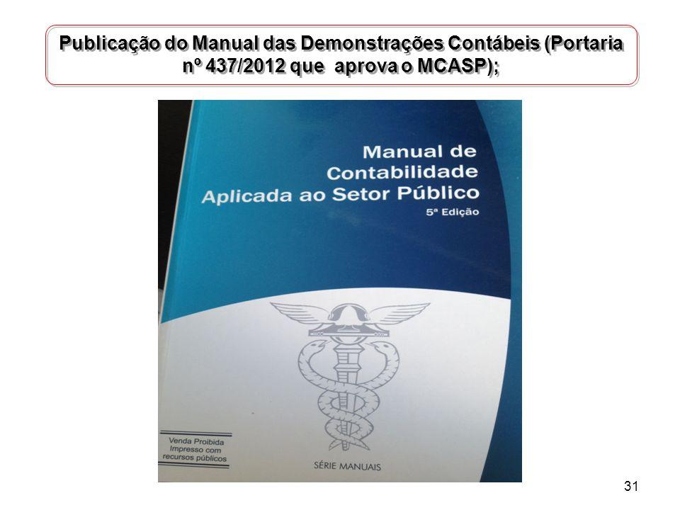 Publicação do Manual das Demonstrações Contábeis (Portaria nº 437/2012 que aprova o MCASP);