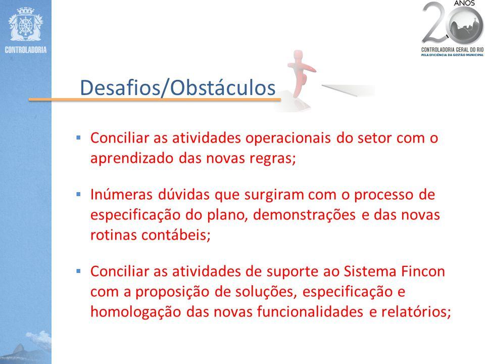 Desafios/Obstáculos Conciliar as atividades operacionais do setor com o aprendizado das novas regras;