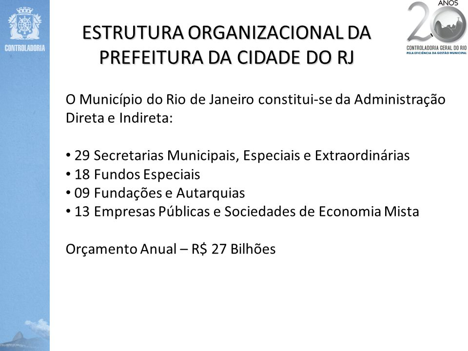 ESTRUTURA ORGANIZACIONAL DA PREFEITURA DA CIDADE DO RJ