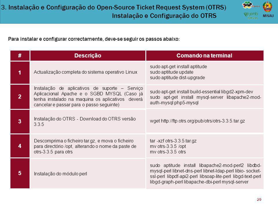 3. Instalação e Configuração do Open-Source Ticket Request System (OTRS) Instalação e Configuração do OTRS