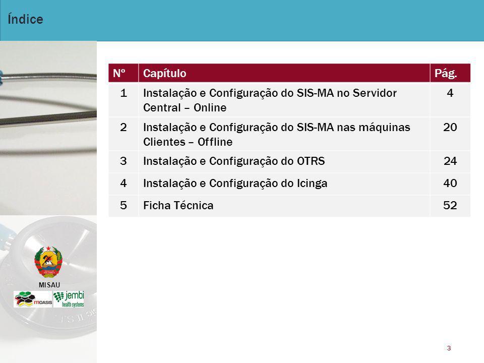 Índice Nº. Capítulo. Pág. 1. Instalação e Configuração do SIS-MA no Servidor Central – Online. 4.