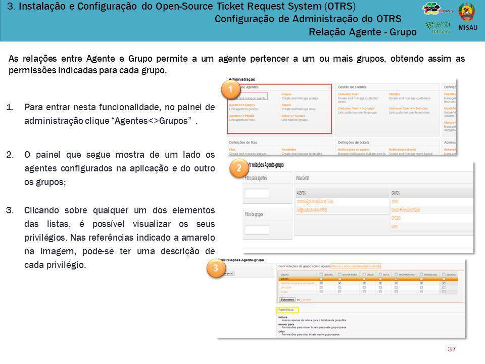 3. Instalação e Configuração do Open-Source Ticket Request System (OTRS) Configuração de Administração do OTRS Relação Agente - Grupo