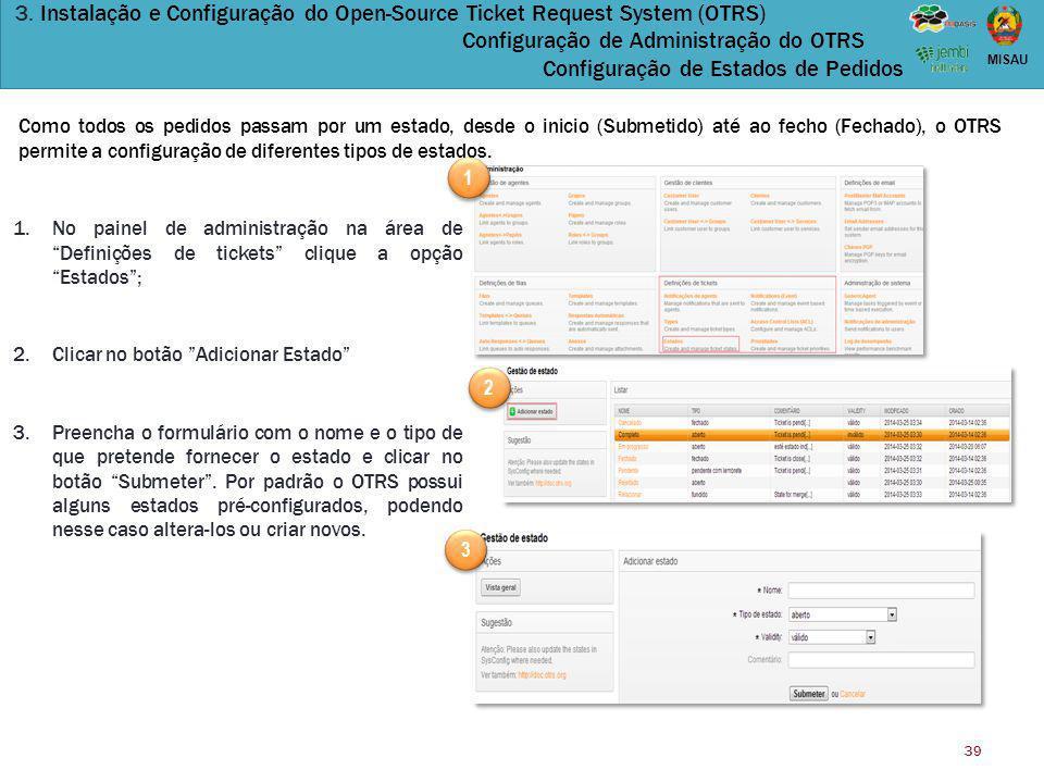 3. Instalação e Configuração do Open-Source Ticket Request System (OTRS) Configuração de Administração do OTRS Configuração de Estados de Pedidos