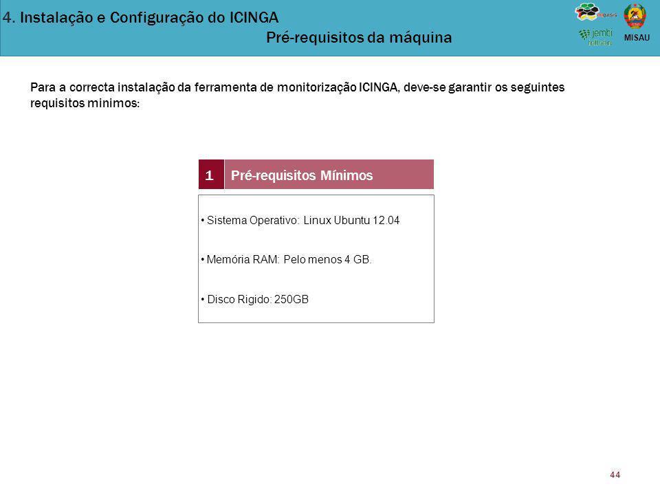 4. Instalação e Configuração do ICINGA Pré-requisitos da máquina