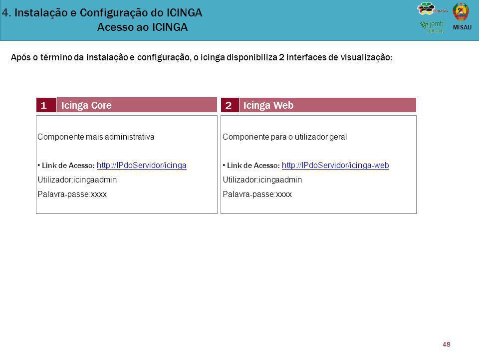 4. Instalação e Configuração do ICINGA Acesso ao ICINGA