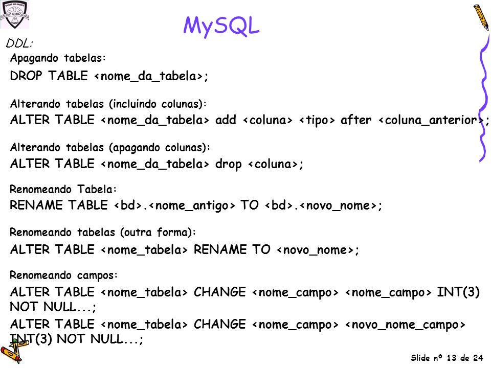 MySQL Apagando tabelas: Alterando tabelas (apagando colunas):