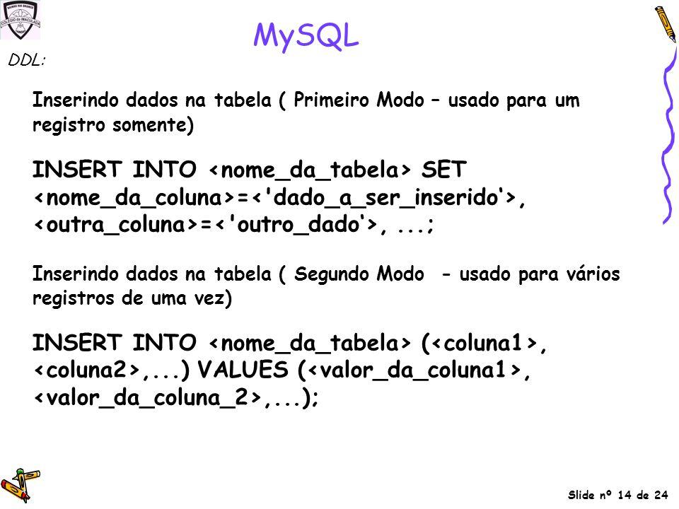 MySQL DDL: Inserindo dados na tabela ( Primeiro Modo – usado para um registro somente)