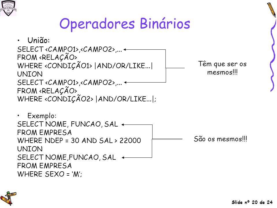 Operadores Binários União: SELECT <CAMPO1>,<CAMPO2>,...